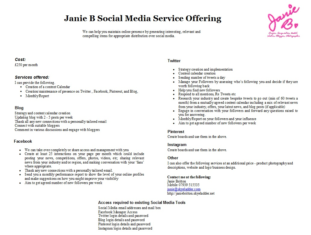 Janie B Social Media Services Offering