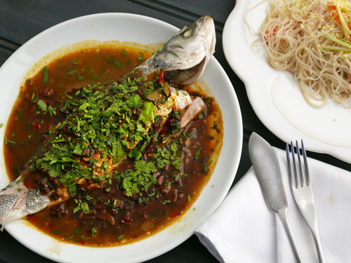 Sea bass with beans and chilli sauce